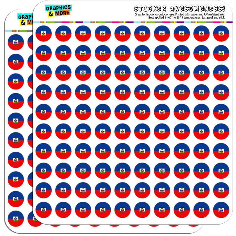 "Haiti National Country Flag 200 1/2"" (0.5"") Planner Calendar Scrapbooking Crafting Stickers"