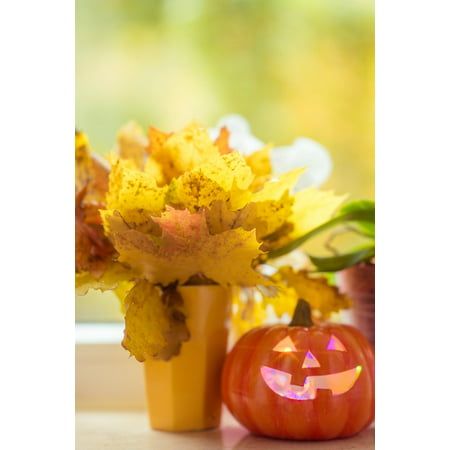 - Canvas Print Leaves Yellow Pumpkin Halloween Bouquet Orange Stretched Canvas 10 x 14