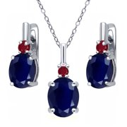 7.62 Ct Oval Blue Sapphire Red Ruby 925 Sterling Silver Pendant Earrings Set