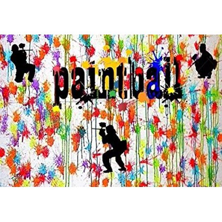 Paintball Splatter Laser Tag Cake Topper Edible Frosting Image 1 4 Sheet