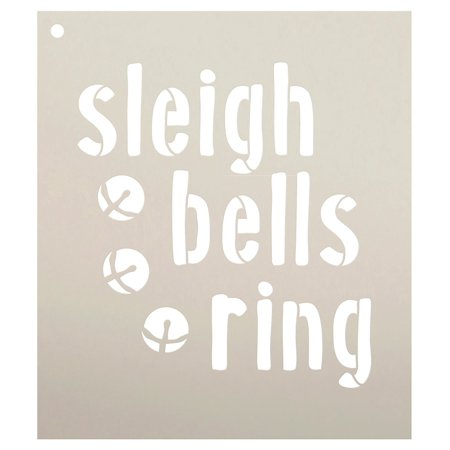 Sleigh Bells Ring with Bells Stencil by Studio R12 | Seasonal Christmas Word Art - Reusable Mylar Template | Painting, Chalk, Mixed Media | Use for Journaling, DIY Home Decor