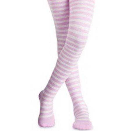 Jefferies Socks Girls Pink White Stripe Pattern Stretchy Tights 8/10 - Girls Striped Socks