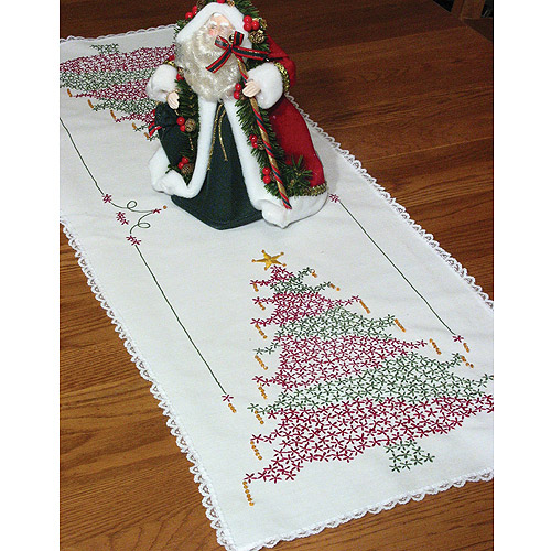 "Fairway Needlecraft Christmas Tree Stamped Perle Edge Dresser Scarf, 15"" x 42"