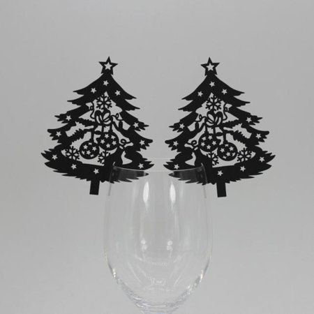 New 50 Pcs Christmas Tree Wine Glass Paper Card for Wedding