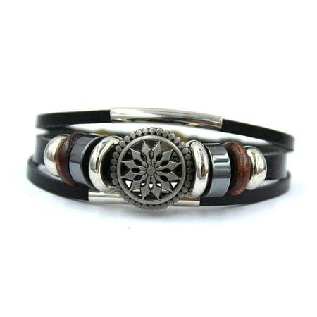 New Unisex Genuine Leather Flower Bracelet Great Valentine's Day Gifts For Men, Women, Teens, Boys, Girls](Bracelets For Boys)