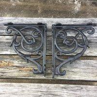 Zimtown 2 Pcs Cast Iron Antique Style Brackets Garden Braces Rustic Shelf Bracket Black