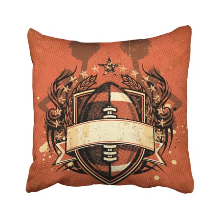 BPBOP Grungy Football Crest With Tribal Accents Scratched Ink Splatters Cheerleader Mini Copy Pillowcase 18x18 inch
