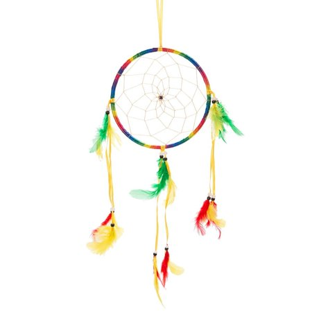 "17"" Traditional Rainbow Dream Catcher with Feathers Wall or Car Hanging Ornam..."
