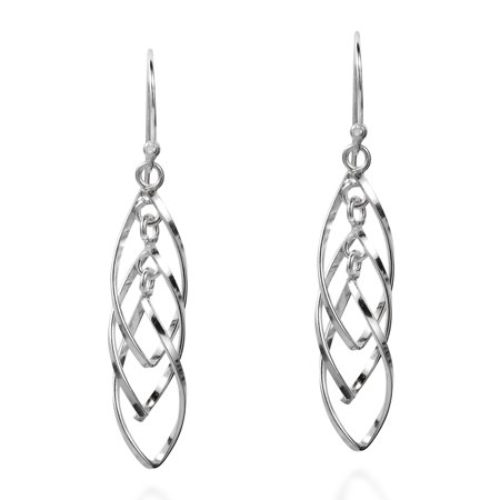 Layered Mobile Almond Shape Spiral .925 Sterling Silver Dangle Earrings (Silver Almonds)
