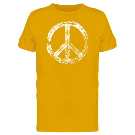 White Grunge Peace Symbol Tee Men's -Image by Shutterstock