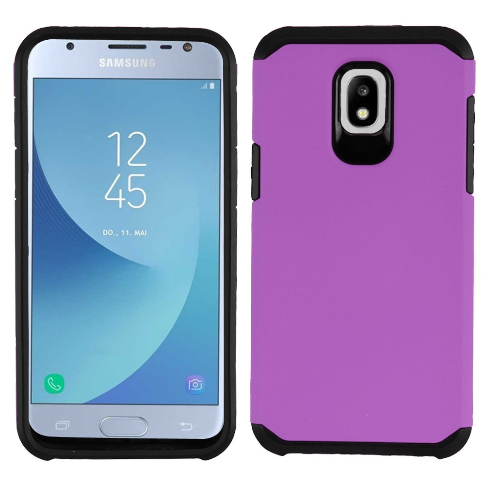 Dual Armor Case Compatible with Samsung Galaxy J3 Orbit, Slim Shockproof Hybrid Protection Cover Case for Samsung Galaxy J3 Orbit - Purple