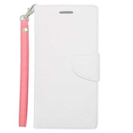 Insten Flip Wallet Leather Case with Card Slot & Lanyard For iPhone 6s Plus / 6 Plus - White/Pink - image 3 de 3