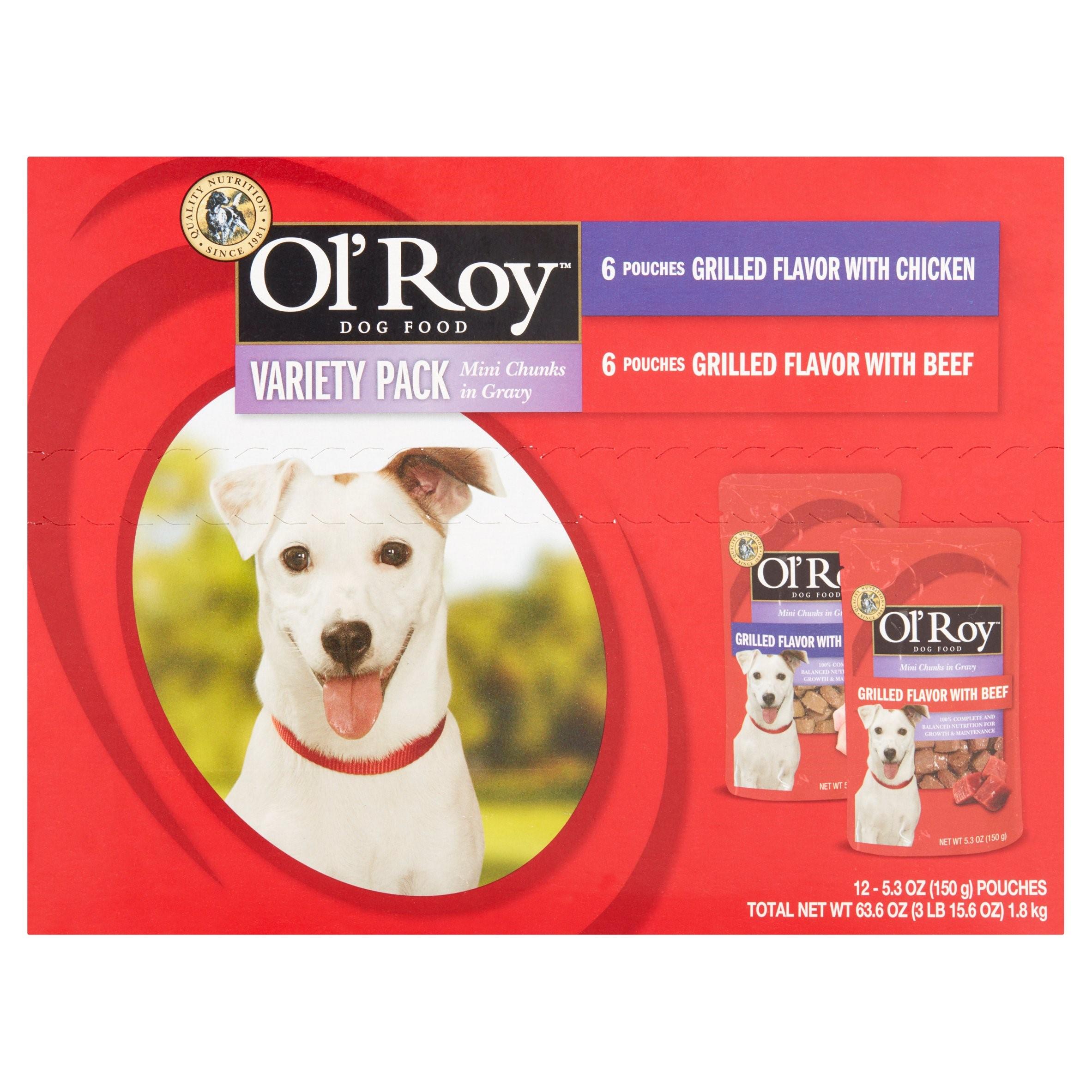 Ol' Roy Variety Pack Mini Chunks in Gravy Wet Dog Food, 5.3 oz, 12 ct