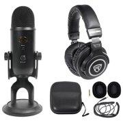 Yeti Blackout Studio Podcasting Podcast Recording Microphone+Monitor Headphones