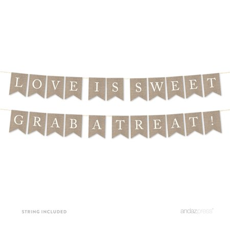 Love Is Sweet, Grab A Treat Burlap Wedding Pennant Party Banner
