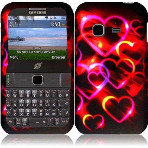 Insten For Samsung S390G(Net 10, Straighttalk) Rubberized Design Case - Colorful Hearts