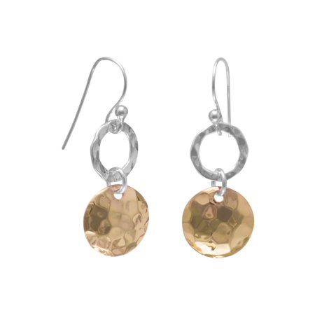 French Wire Earrings Hammered Sterling Silver Open Ring Hammered 14 Karat Rose Gld-Flashed Disc Drop