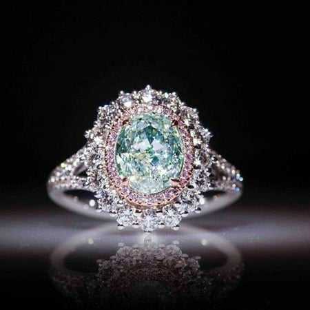 Charm Women's Jewelry Inlaid Green Topaz Pink Crystal Ring Engagement Ring Gifts Size 9