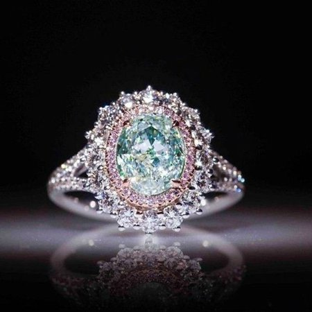 Crystal Dual Ring (Charm Women's Jewelry Inlaid Green Topaz Pink Crystal Ring Engagement Ring Gifts Size 9)