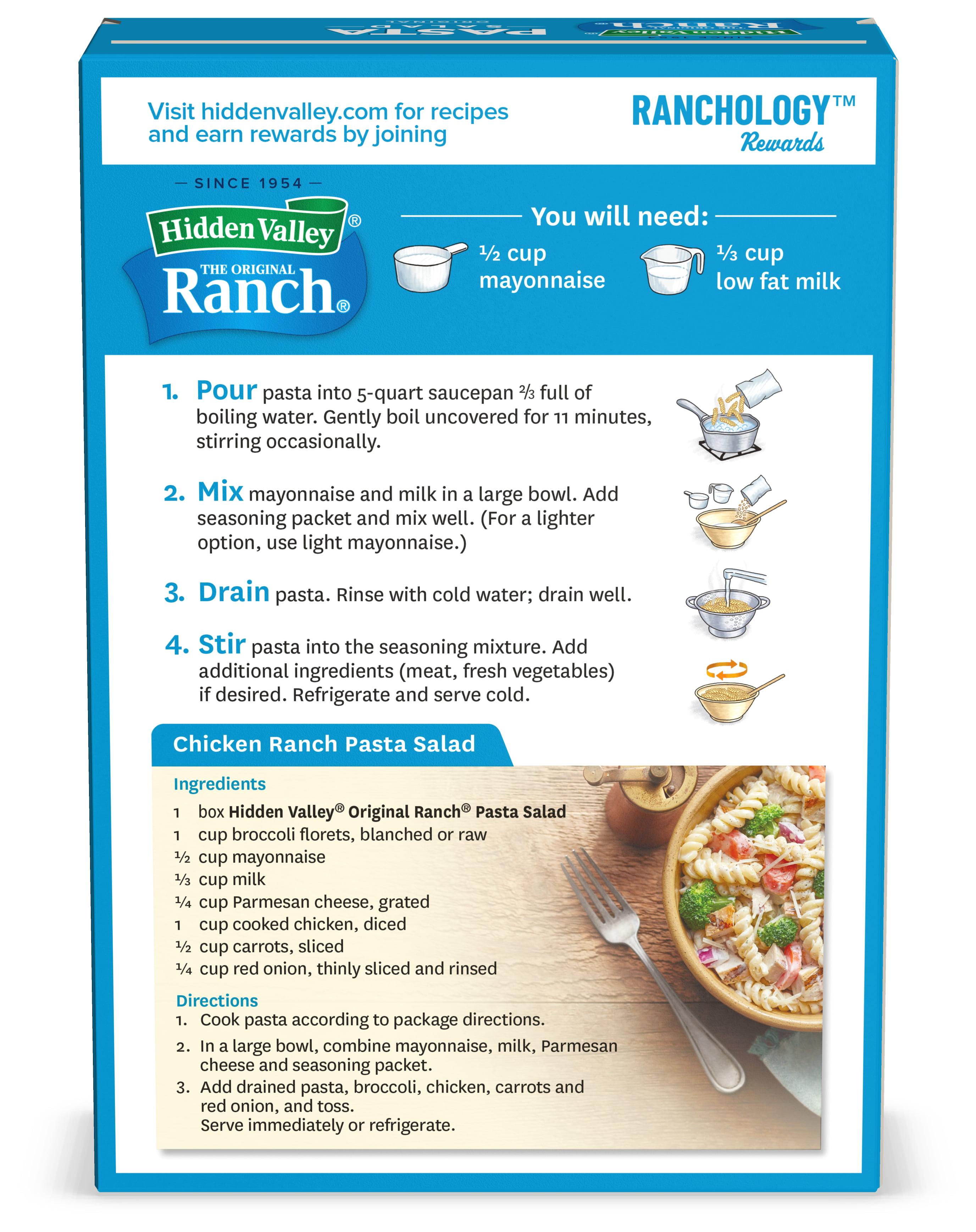 Hidden Valley Original Ranch Pasta Salad 7 09 Ounces Walmart Com Walmart Com