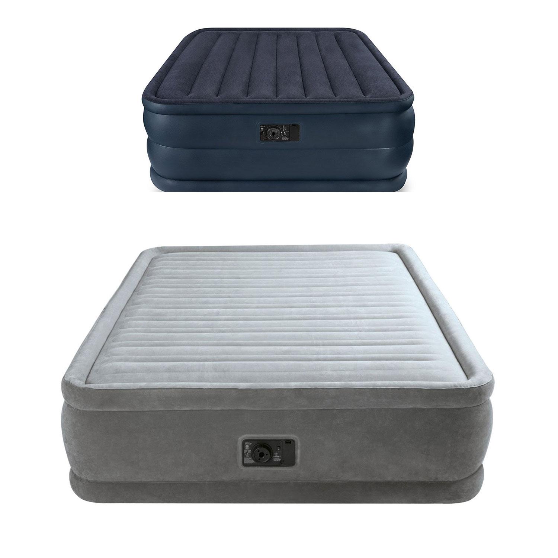 Intex Plush Airbed w/ Pump + Intex Downy Air Mattress w/ Built-In Pump (Queen)