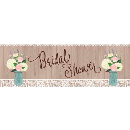 """Pack of 6 Decorative Rustic Wedding """"Bridal Shower"""" Giant Party Banner 60"""""""