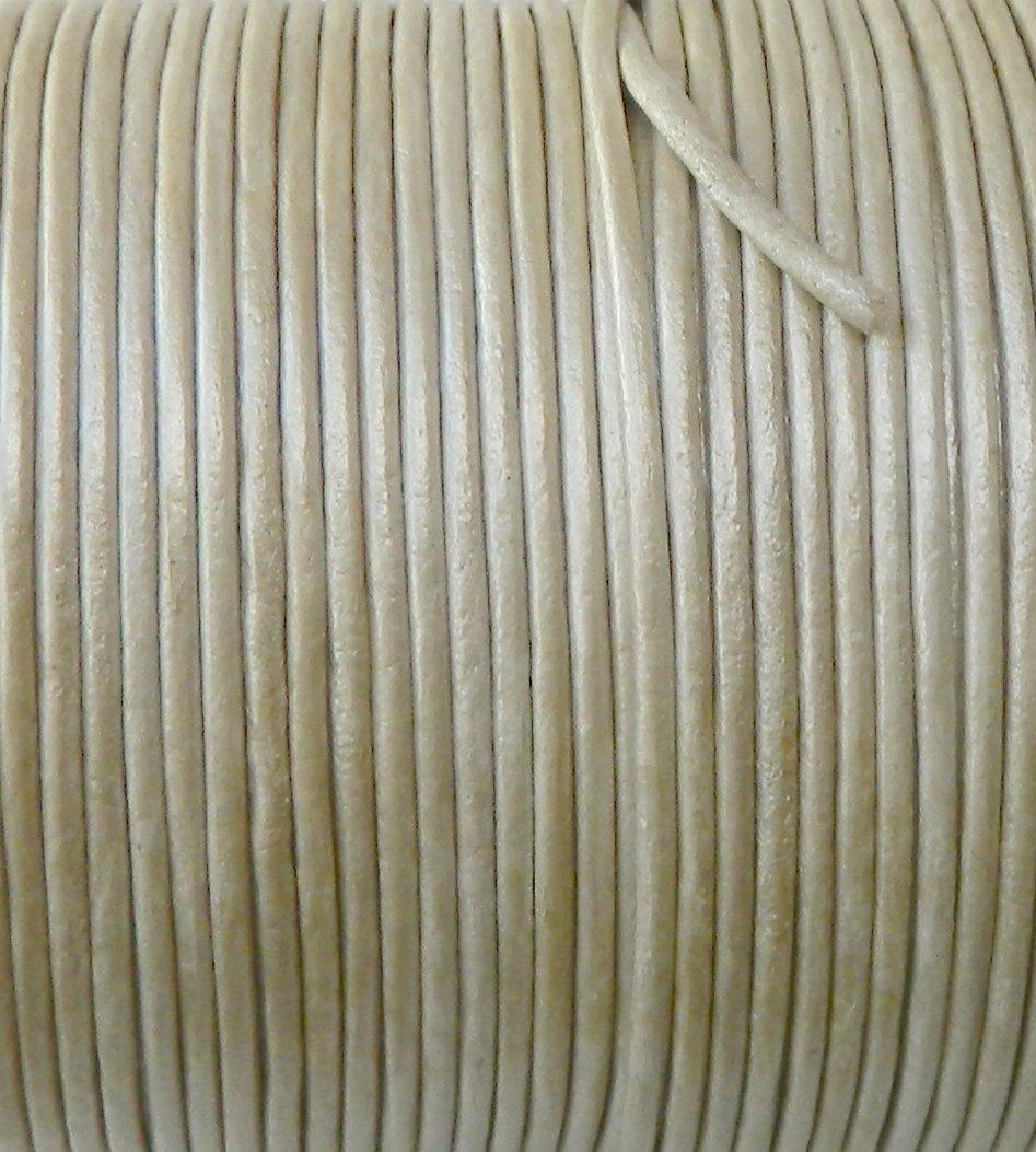Imported India Leather Cord 2mm Round 5 Yards Metallic Cream