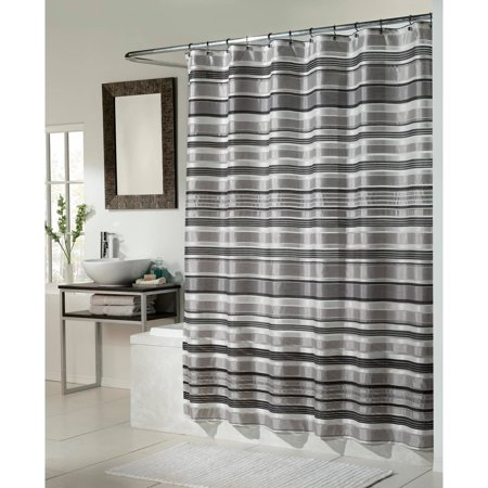 Glacier Fabric Shower Curtain Black Silver Combination