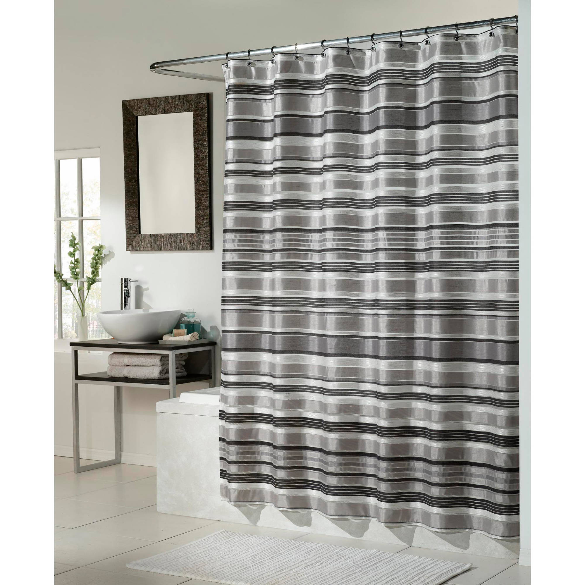 Superior Glacier Fabric Shower Curtain, Black Silver Combination