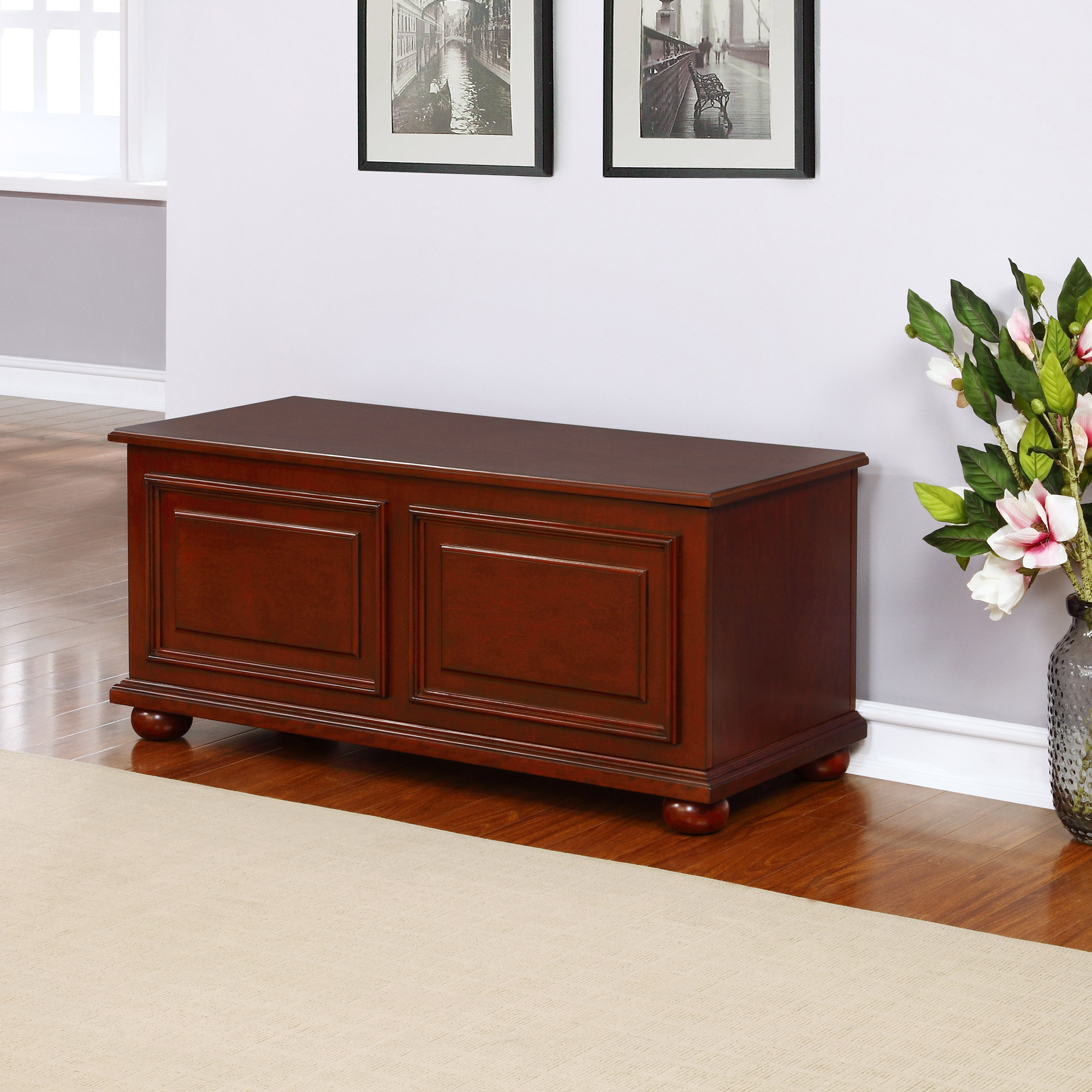 Powell Furniture Chadwick Traditional Cedar Storage Chest in Rich Cherry Finish