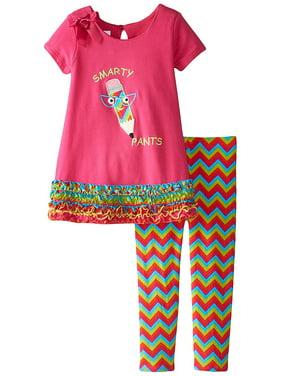 Bonnie Jean Ruched Ruffle Border Smarty Pants Knit A-Line Dress/Legging Set