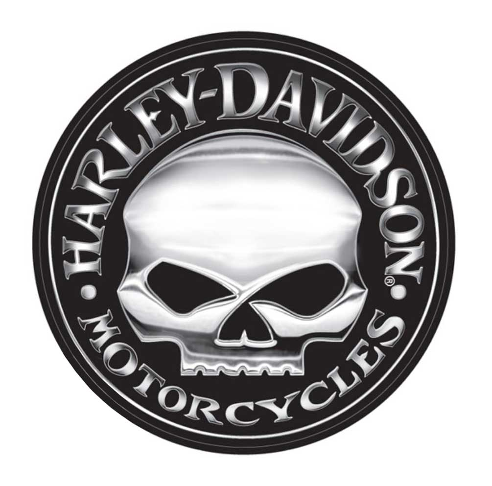 Harley-Davidson Decal, Silver Willie G Skull Logo, X-Larg...