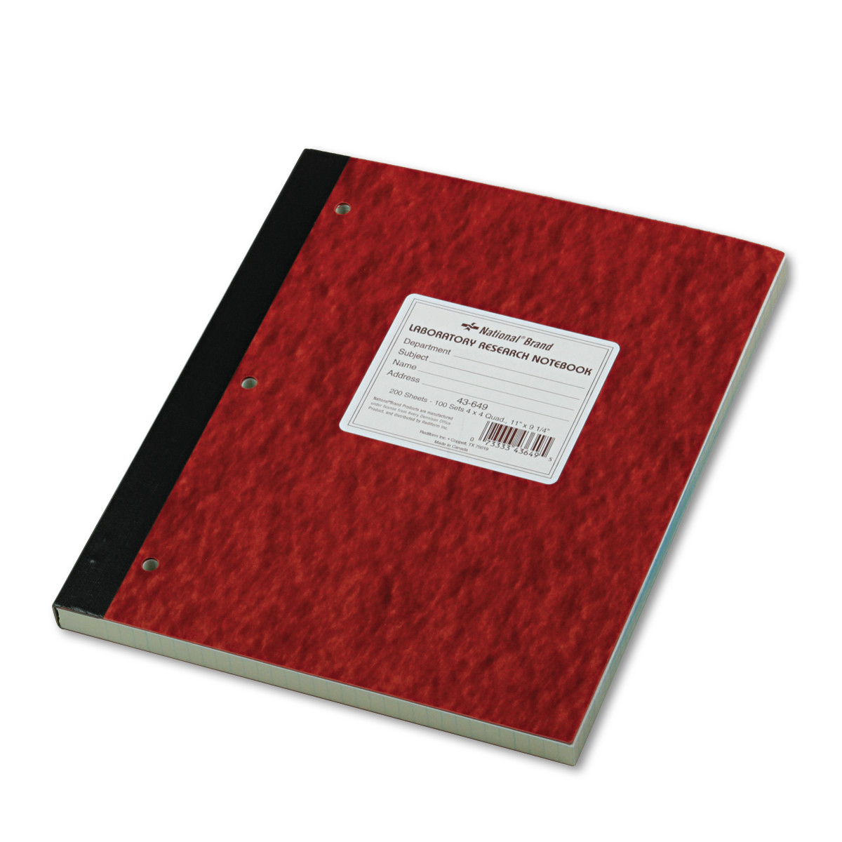 National Duplicate Lab Notebook, Quadrille Rule, 11 x 9 1/4, White/Yellow, 200 Sheets -RED43649