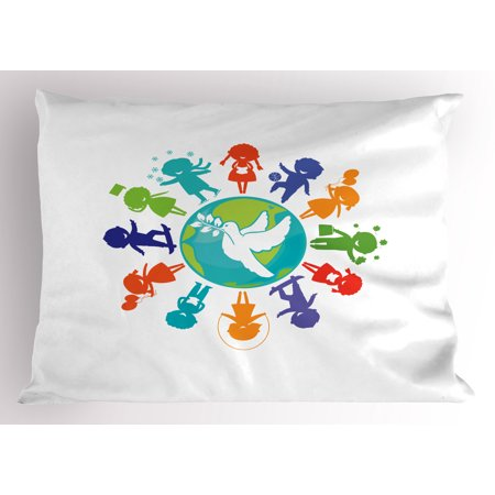Kids Silhouette (Youth Pillow Sham Cute Children Silhouettes around the World with Pigeon Symbol of Peace Earth Planet, Decorative Standard Size Printed Pillowcase, 26 X 20 Inches, Multicolor, by)