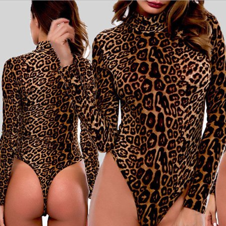 - Women Long Sleeve Leopard Skin Romper Jumpsuit Bodysuit Slim V Neck Leotard Tops
