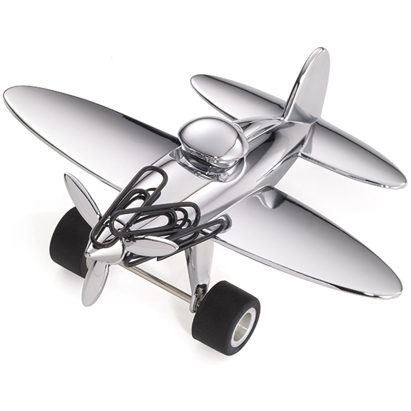 Troika Chrome Airplane Paperweight