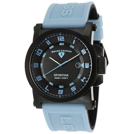 Swiss Legend 40030-Bb-01-Bblas Sportiva Light Blue And Black Silicone Black Dial Black Ip Steel Case Watch