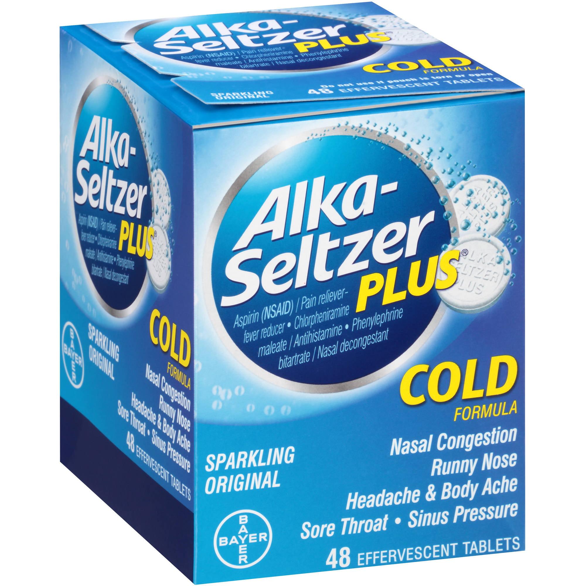 Alka-Seltzer Plus Sparkling Original Cold Formula, 48 count