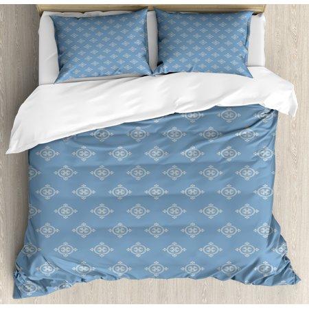 Geometric Duvet Cover Set, Renaissance Inspired Medieval Shapes Motifs Vintage Floral Arrangement, Decorative Bedding Set with Pillow Shams, Slate Blue Cream, by
