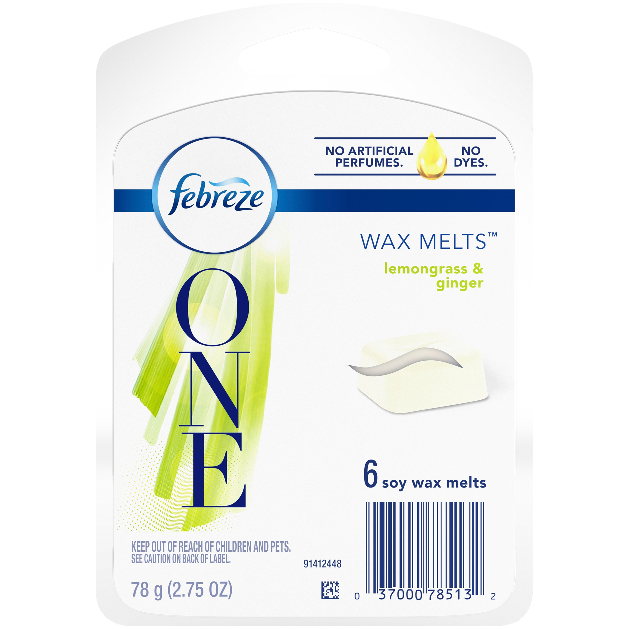 Febreze ONE Soy Wax Melts with Essential Oils, Lemongrass & Ginger Scent, 6 Cubes, 2.75 Ounce