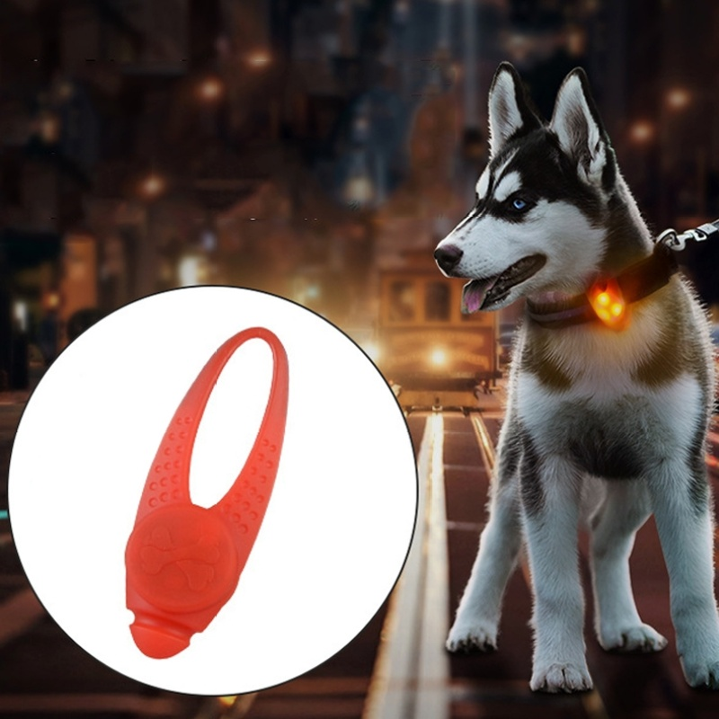 LED Night Light Pet Safety Collar Silicone Pendant - Red