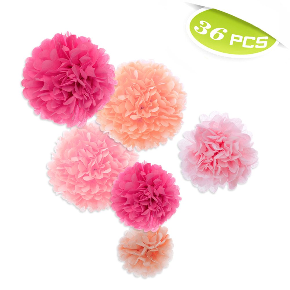 (Price/36 PCS)Aspire 36 Pcs Paper Pom Poms, Pink Tissue Paper Flower, Party Favors