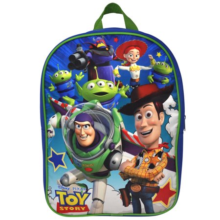 """Kids Toy Story Group Backpack 15"""" Blue Woody Buzz Aliens - image 2 de 2"""