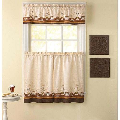 CHF & You Cafe Au Lait Kitchen Curtains, Set of 2