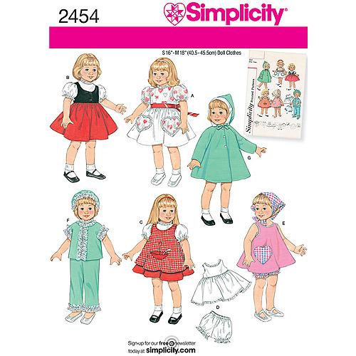 Simplicity Pattern Doll Clothes, All Sizes