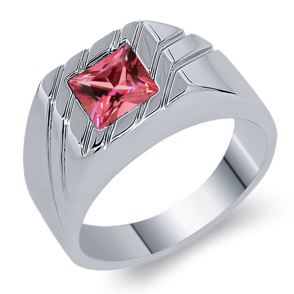 2.00 Ct 925 Sterling Silver Ring Pink Natural Topaz Cut by Swarovski by