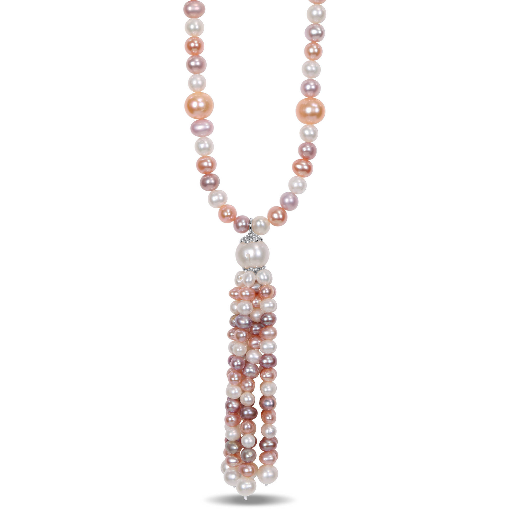 "Tangelo 4-11mm White, Pink and Peach Cultured Freshwater Pearl Sterling Silver Tassel Necklace, 30"" by Tangelo"