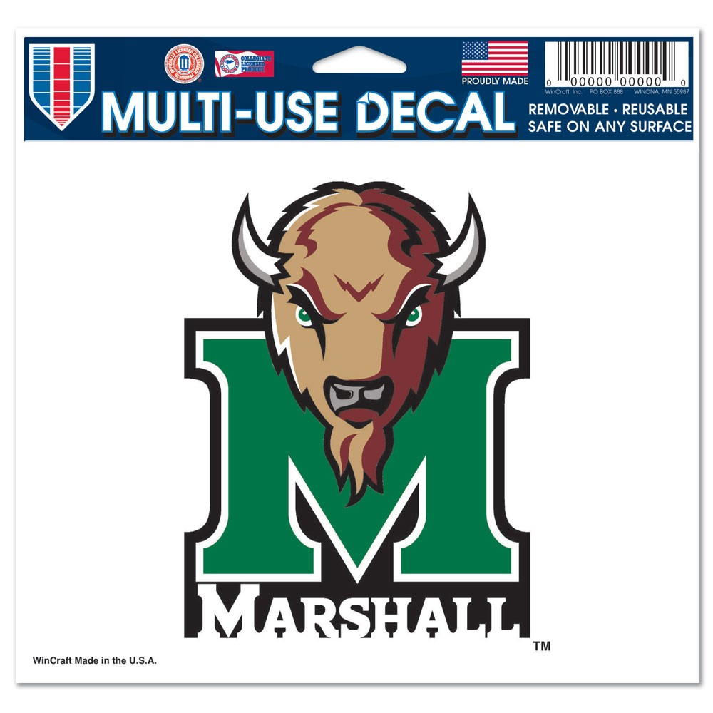 Marshall Thundering Herd Official NCAA 4 inch x 6 inch Car Window Cling Decal by Wincraft