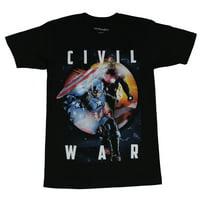 Captain America Mens T-Shirt -  Civil War Iron Man Cap Word reflecting Shield