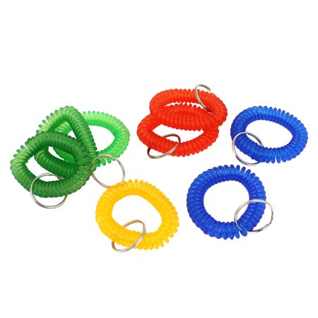 8Pcs Multicolor Stretchy Coiled Band Hand Wrist Keychain Key Holder